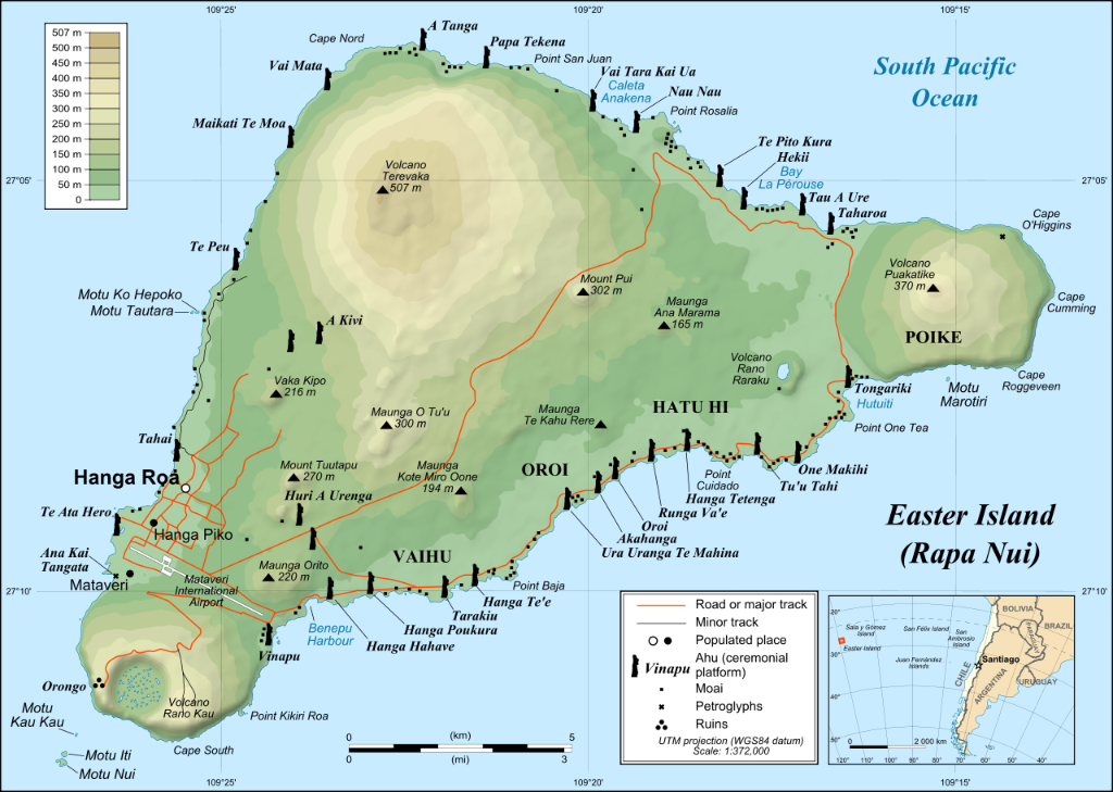 Easter Island is certainly a must see destination! Easter Island or Isla de Pascua (Rapa Nui) sits in the Valparaiso Region, Chile. It is 64 Sq Miles and is the most isolated inhabited island most well known for its 900 Moai Statues that fascinate historians.