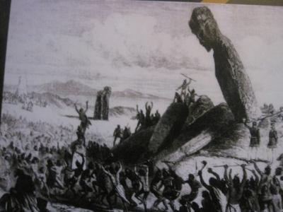 Theories on how the Moai were carved and lifted Easter Island, Rapa Nui, Hanga Roa, Vanuatu, Isla de Pascua, Chile, South America