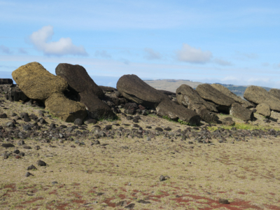Vaihu - 8 statues laying face down pointing to the sea. Easter Island, Isla de Pascua, Hanga-Roa, Chile, South America
