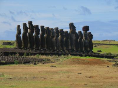 Ahu Tongariki - the 15 most famous Moai on Easter Island.  Isla de Pascua, Chile, South America