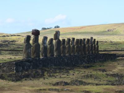 Tongariki Moai Statue Carving earthquake Easter Island, Rapa Nui, Hanga Roa, Isla de Pascua, Chile, South America