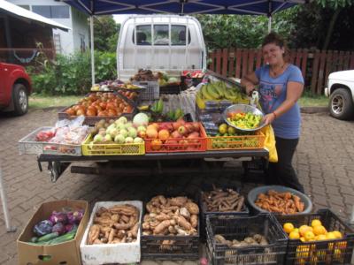 Fruit stand Main Street in Hanga Roa Town Avenue Atamu Tekena - Easter Island, Rapa Nui, Hanga Roa, Isla de Pascua, Chile, South America
