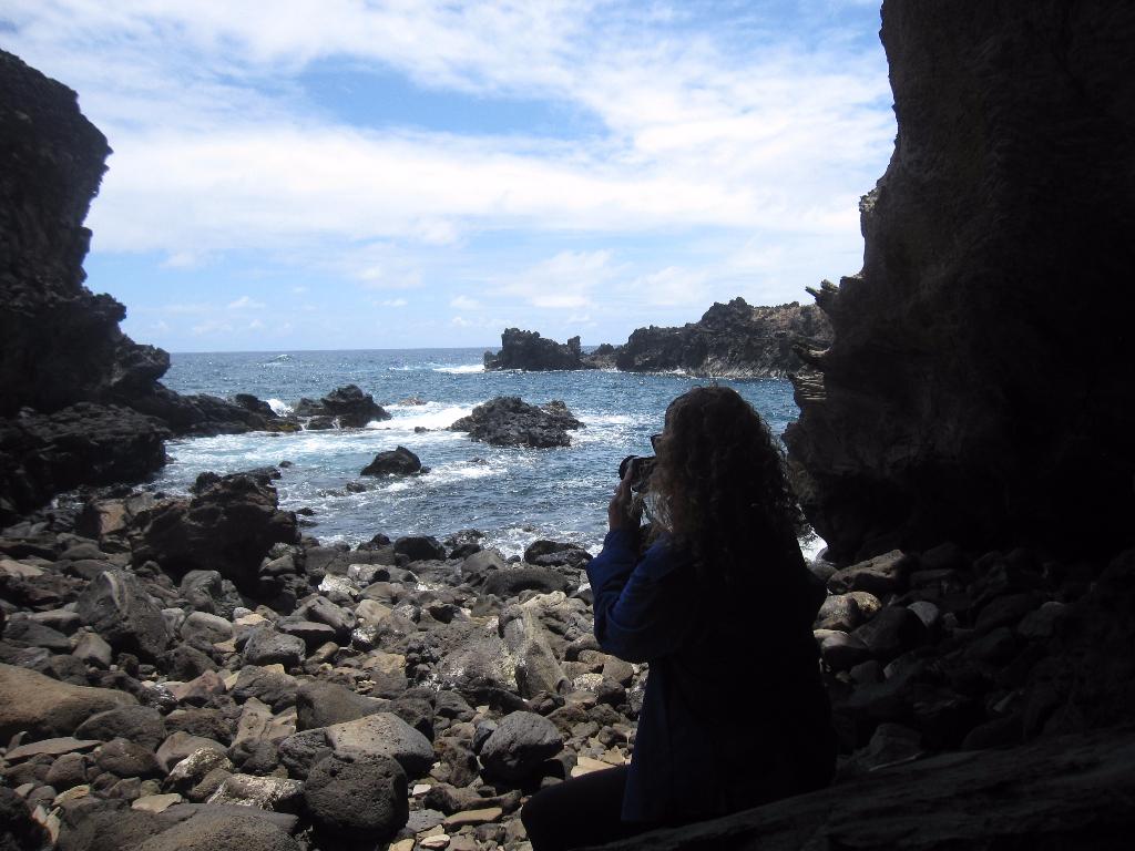 Ana Kai Tangata - This literally translates to Man Eating Cave.  Easter Island, Rapa Nui, Hanga Roa, Isla de Pascua, Chile, South America